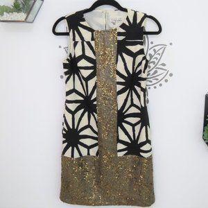 Anthropologie Black White & Gold Sequin Dress 2P